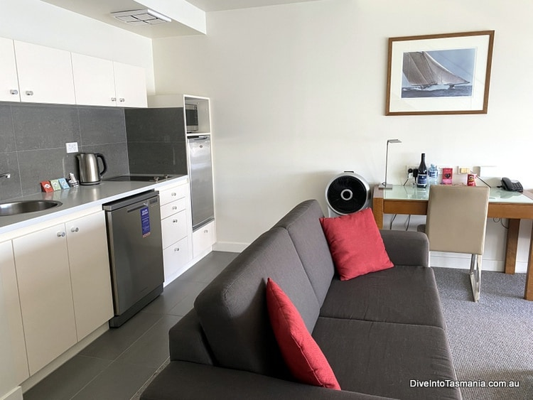 Our One Bedroom Premier Apartment kitchen at Somerset Pier apartments Hobart