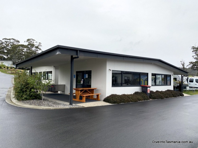 NRMA St Helens Waterfront Holiday Park camp kitchen and recreation room