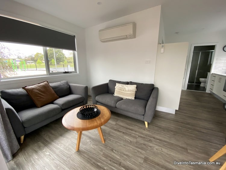NRMA St Helens Waterfront Holiday Park living area in park cabin