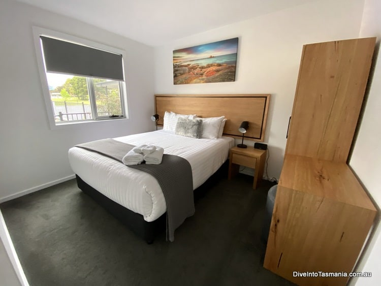 NRMA St Helens Waterfront Holiday Park main bedroom in park cabin