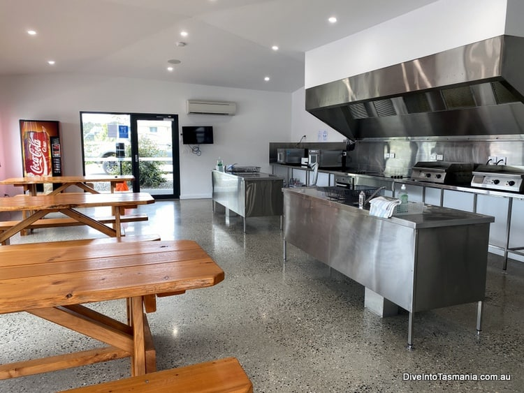 NRMA St Helens Waterfront Holiday Park inside the camp kitchen