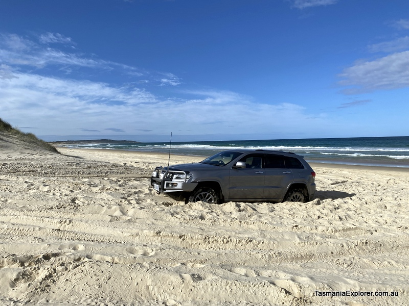 Car bogged in sand at peron dunes