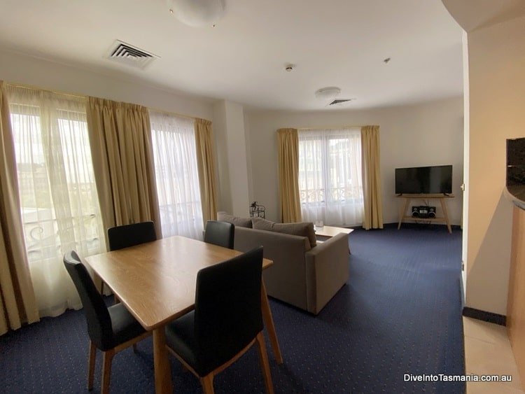 Quest apartments Hobart Savoy main living and dining areas
