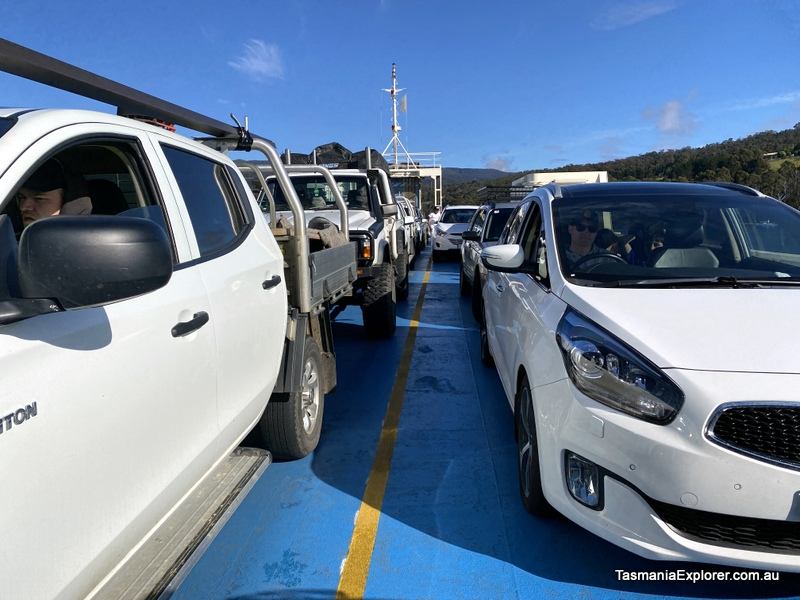 Cars onboard the Bruny Island Ferry