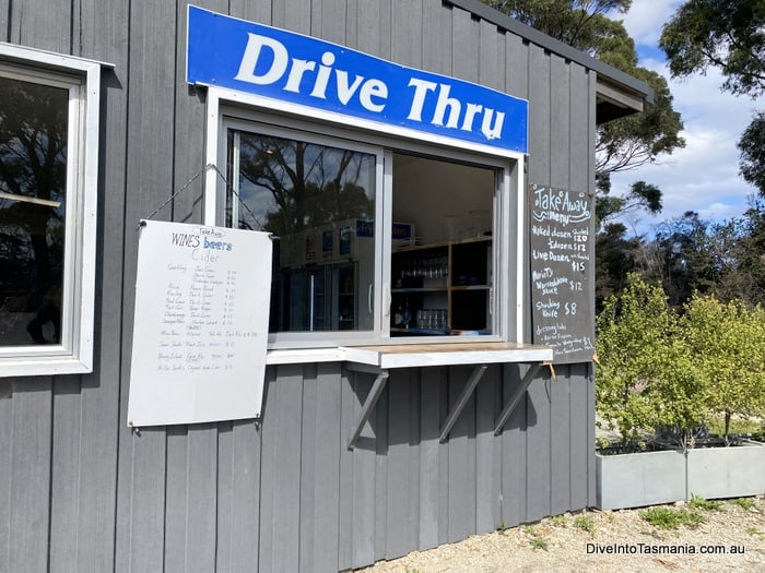 Bruny Island oysters drive thru window