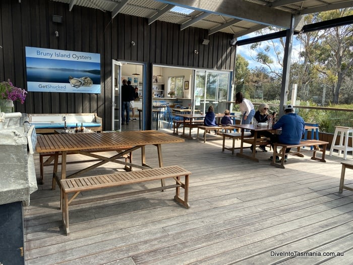 Bruny Island oysters outside seating