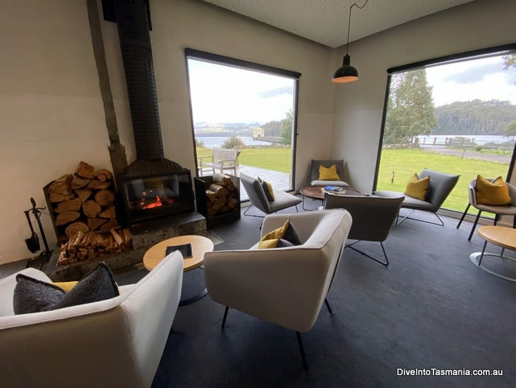 Pumphouse Point sitting area in the shorehouse