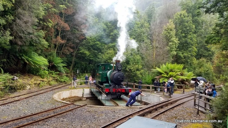 west coast wilderness railway turning the train
