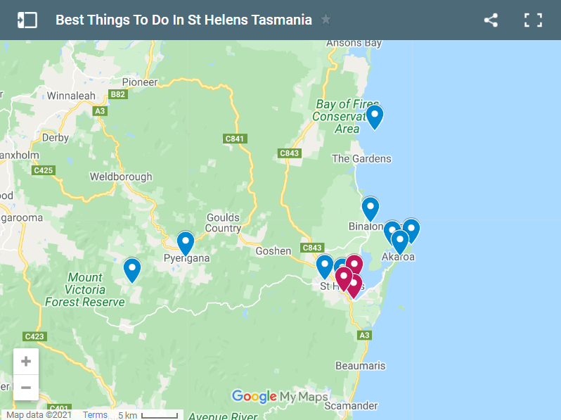 Best Things To Do In St Helens Tasmania map
