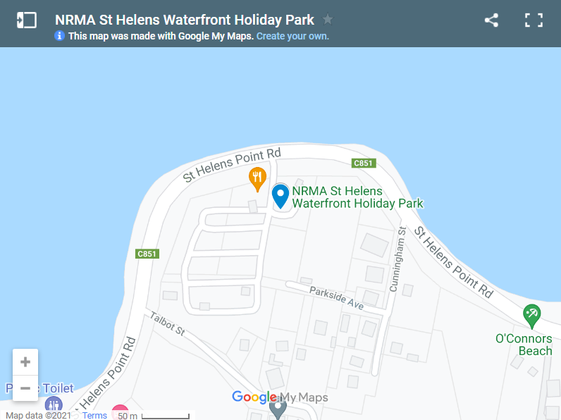 NRMA St Helens Waterfront Holiday Park map