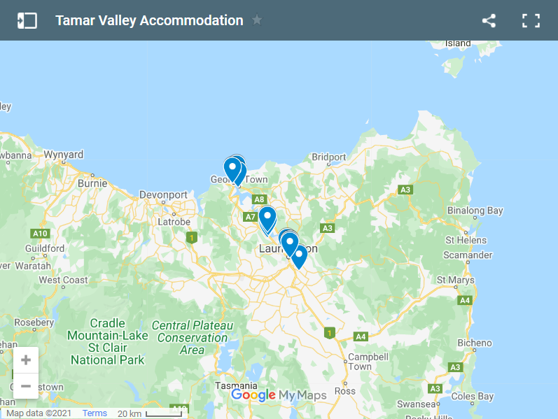 Tamar Valley Accommodation map