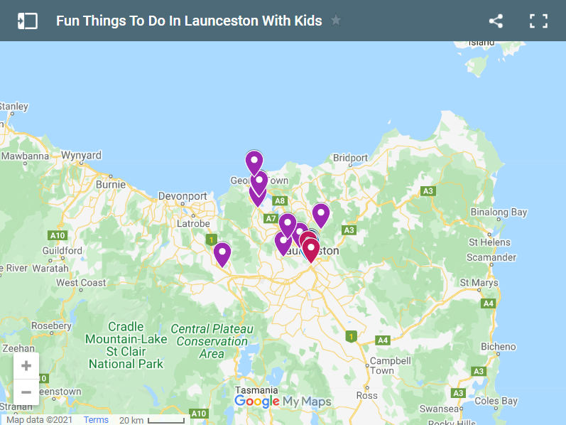Things To Do In Launceston With Kids map