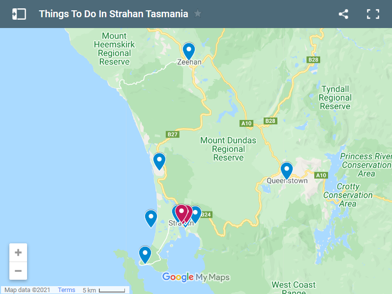 Things To Do In Strahan Tasmania map