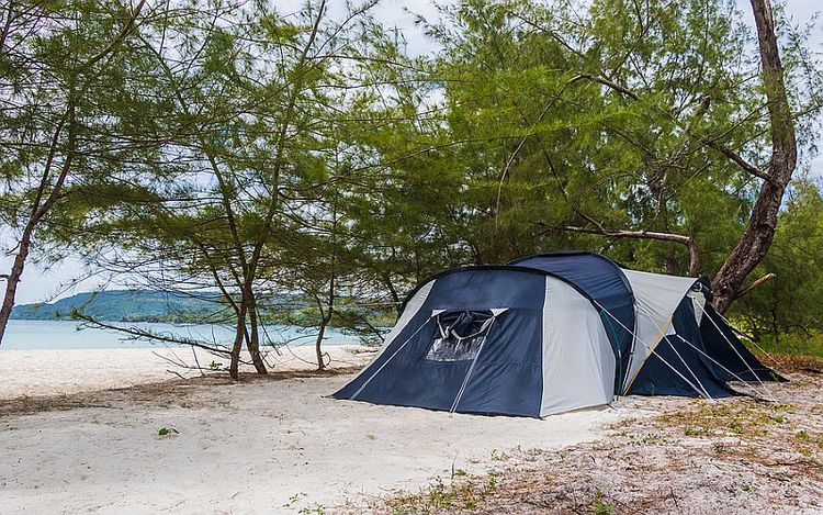 Big Six Person Tent On The Beach, Blue Grey, Trees And Ocean In