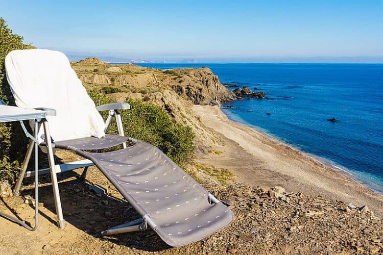 Folding Camp Chair On Cliff Above Cabezo Negro Beach, Span