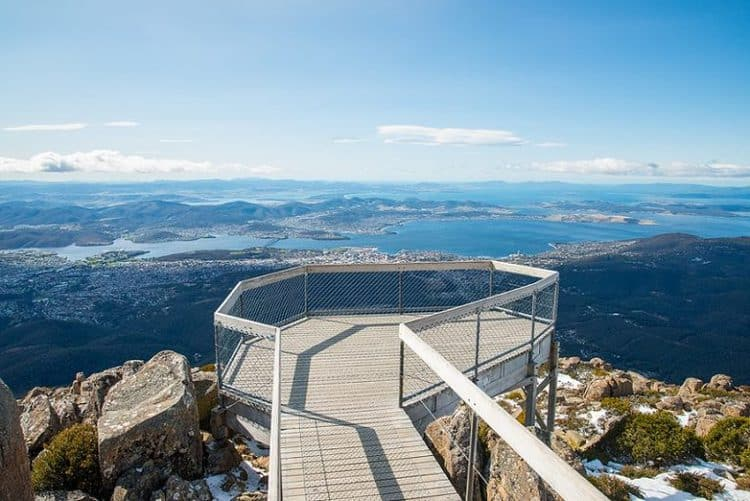 Scenic view of Hobart from Mount Wellington